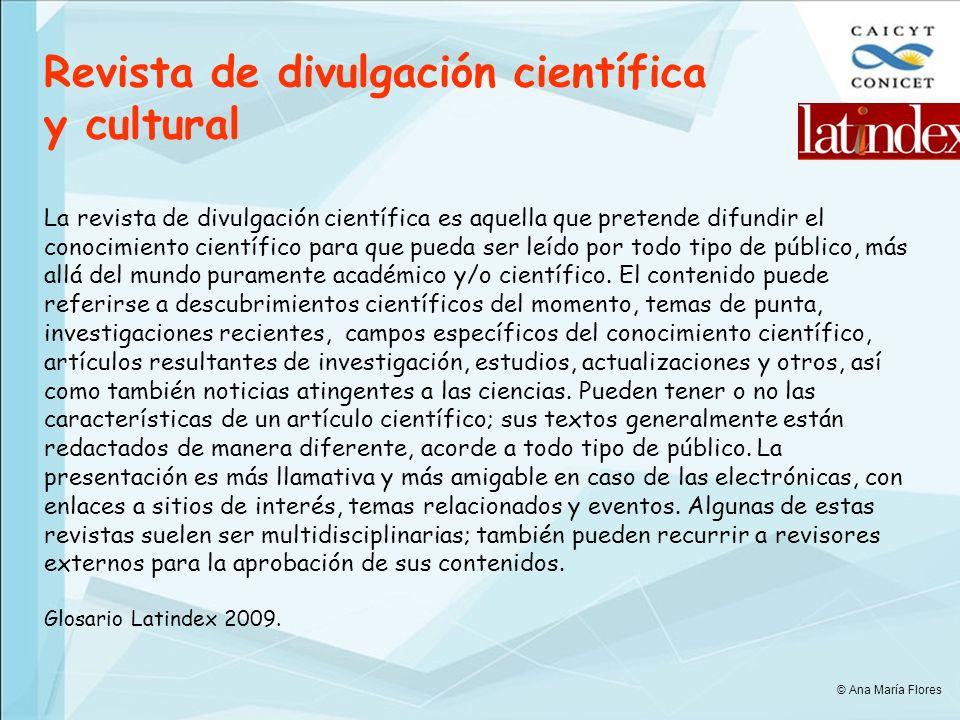 Revista de divulgación científica y cultural