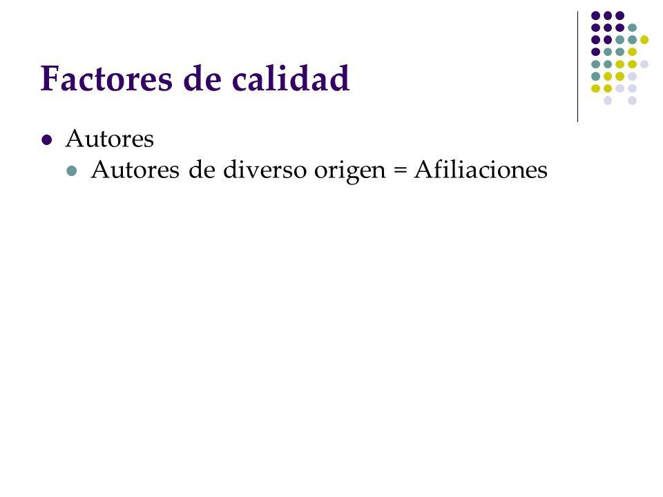 Factores de calidad Autores Autores de diverso origen = Afiliaciones