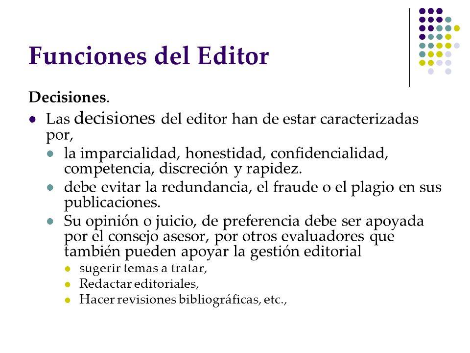 Funciones del Editor Decisiones.
