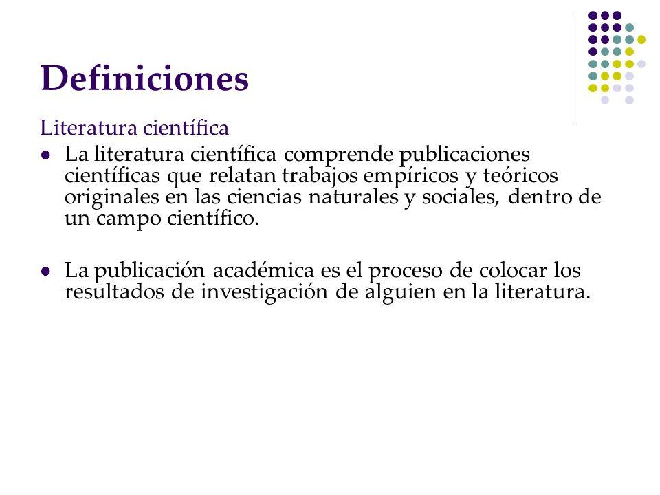Definiciones Literatura científica
