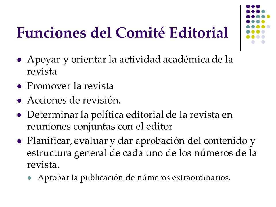 Funciones del Comité Editorial