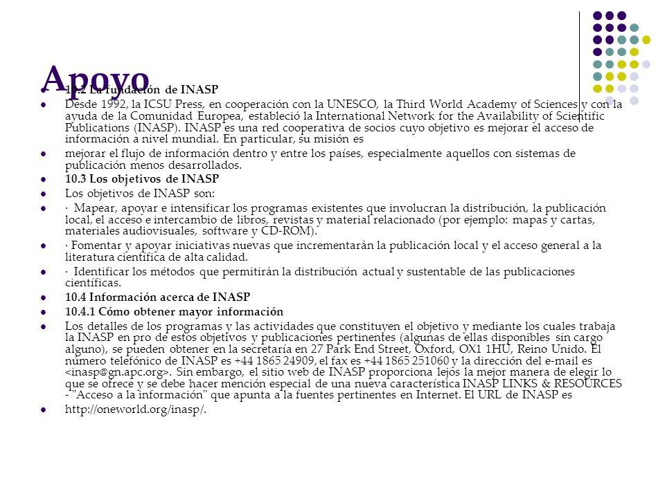 Apoyo 10.2 La fundación de INASP