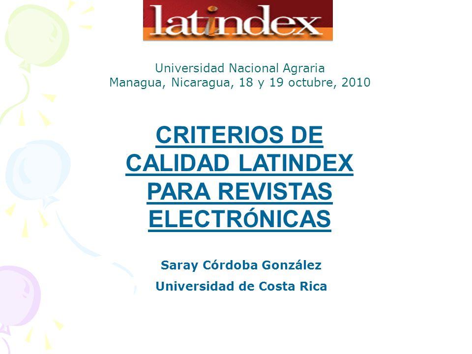 CRITERIOS DE CALIDAD LATINDEX PARA REVISTAS ELECTRÓNICAS