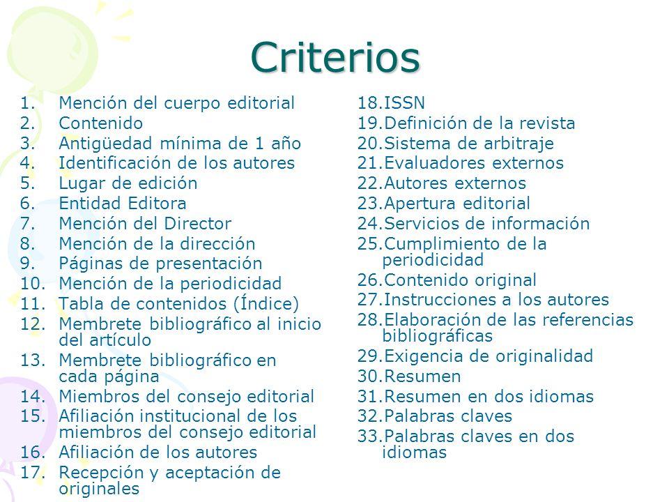 Criterios Mención del cuerpo editorial Contenido