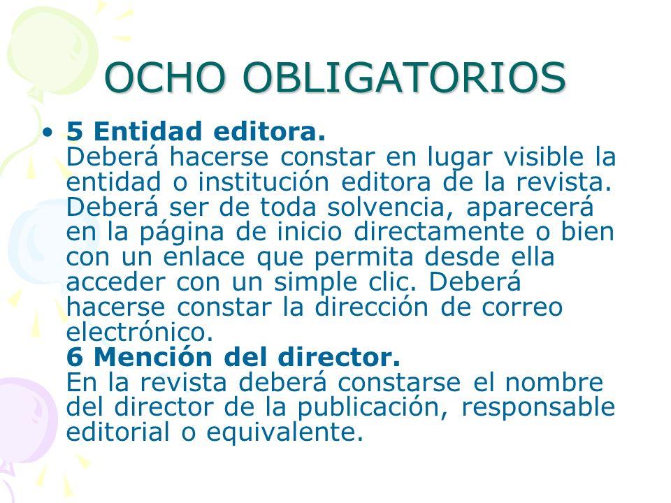 OCHO OBLIGATORIOS