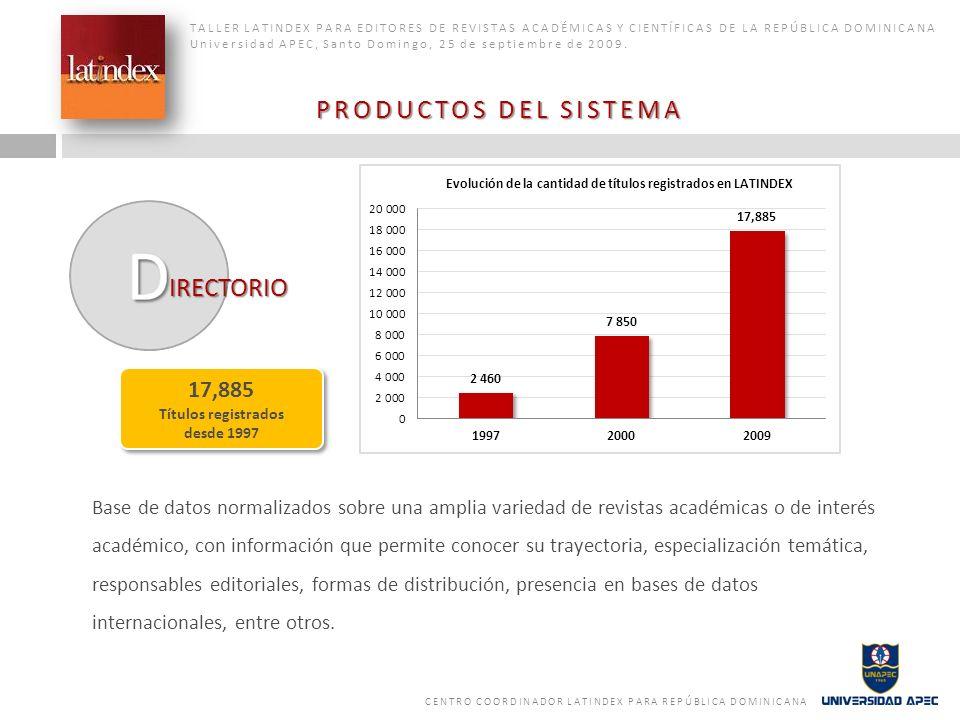 PRODUCTOS DEL SISTEMA IRECTORIO 17,885