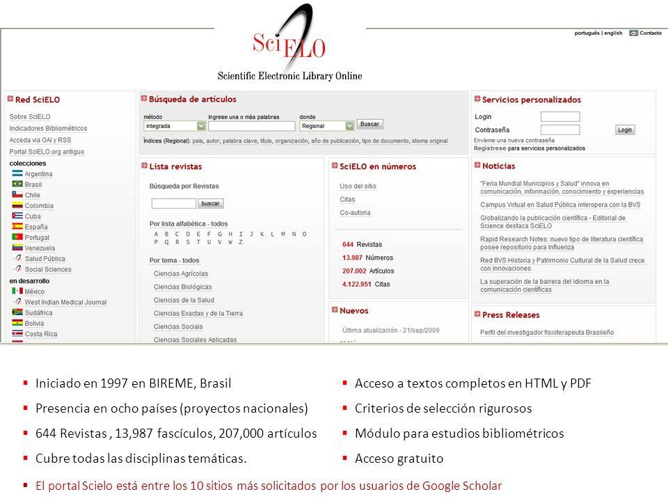 Iniciado en 1997 en BIREME, Brasil