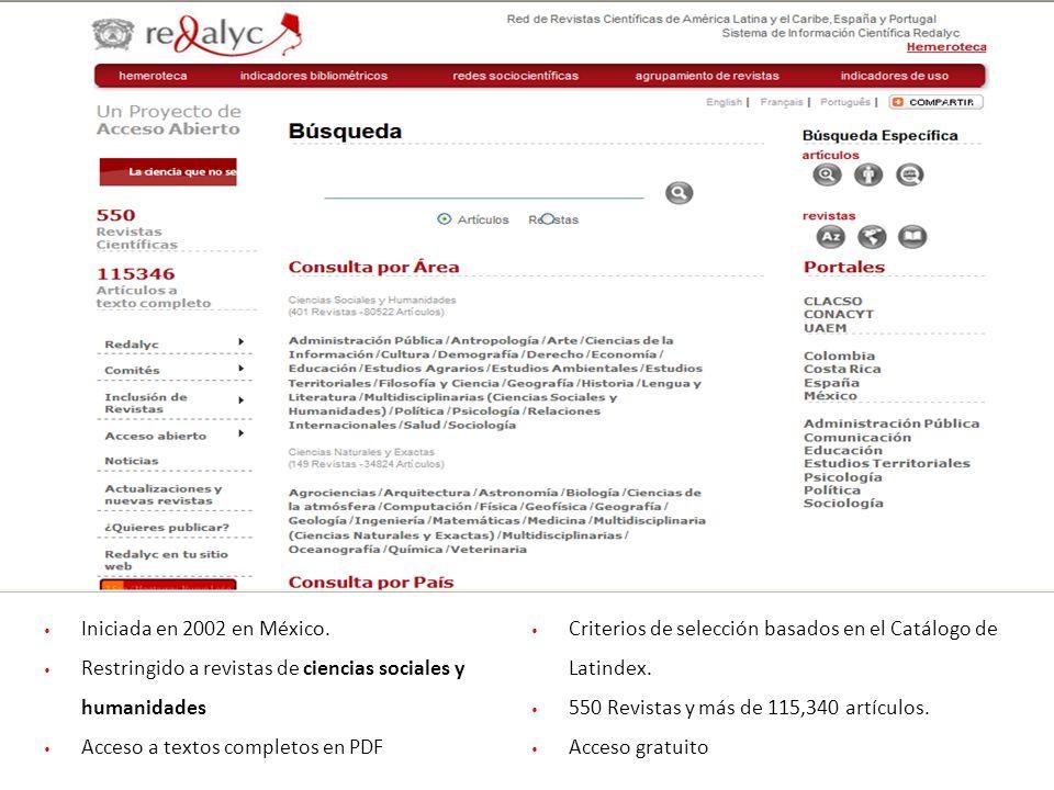 Iniciada en 2002 en México. Criterios de selección basados en el Catálogo de Latindex. Restringido a revistas de ciencias sociales y humanidades.