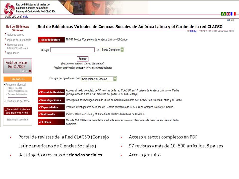 Portal de revistas de la Red CLACSO (Consejo Latinoamericano de Ciencias Sociales )
