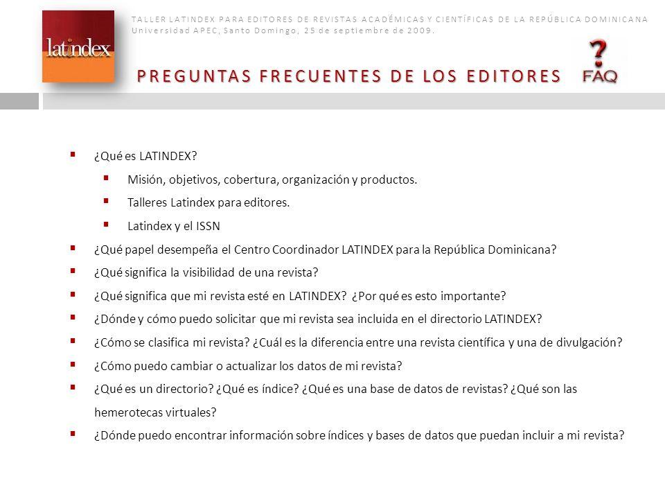 PREGUNTAS FRECUENTES DE LOS EDITORES