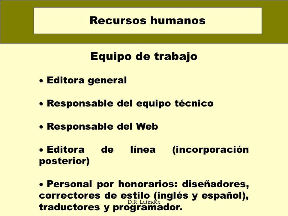 Recursos humanos Equipo de trabajo Editora general