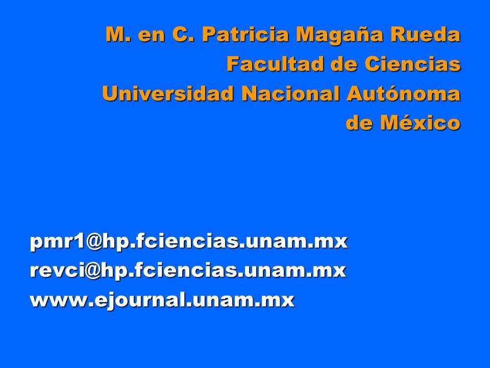 M. en C. Patricia Magaña Rueda