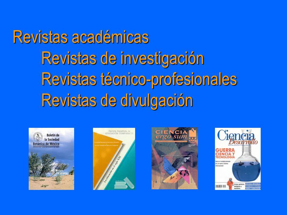 Revistas académicas. Revistas de investigación