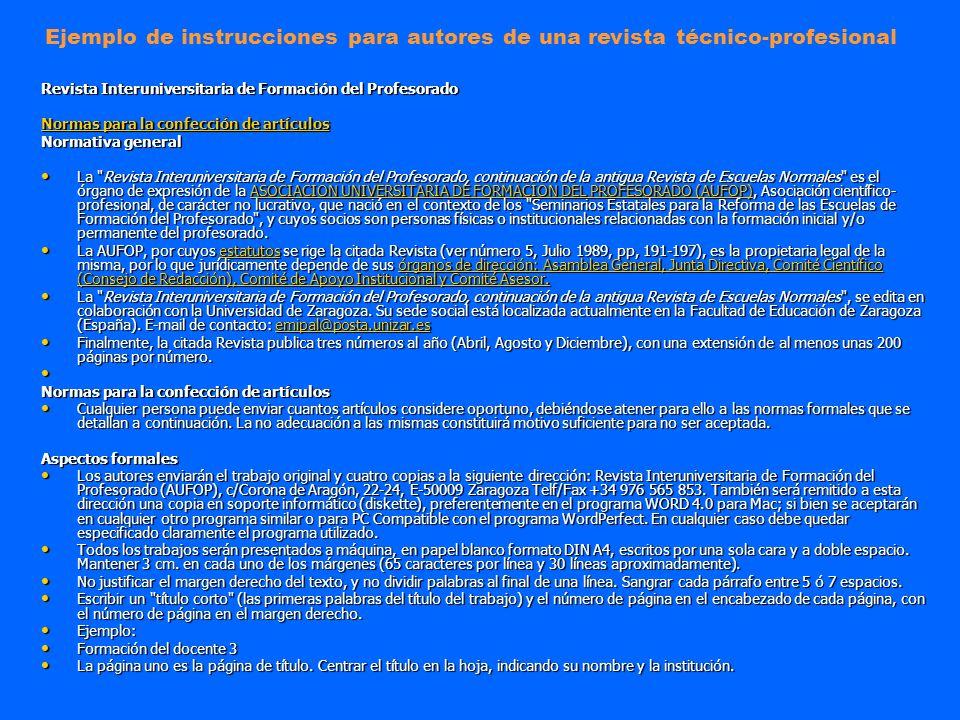 Ejemplo de instrucciones para autores de una revista técnico-profesional