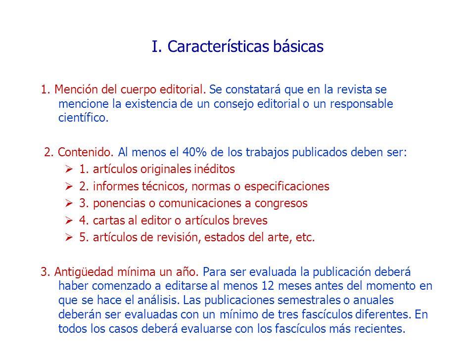 I. Características básicas