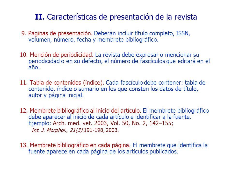 II. Características de presentación de la revista