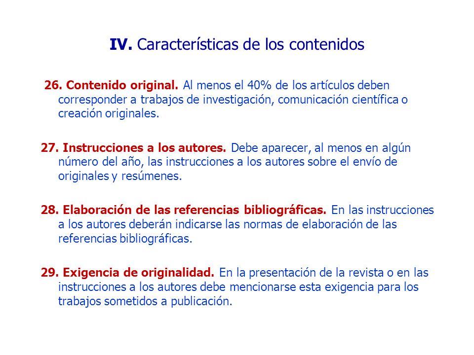 IV. Características de los contenidos