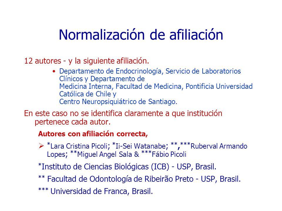 Normalización de afiliación