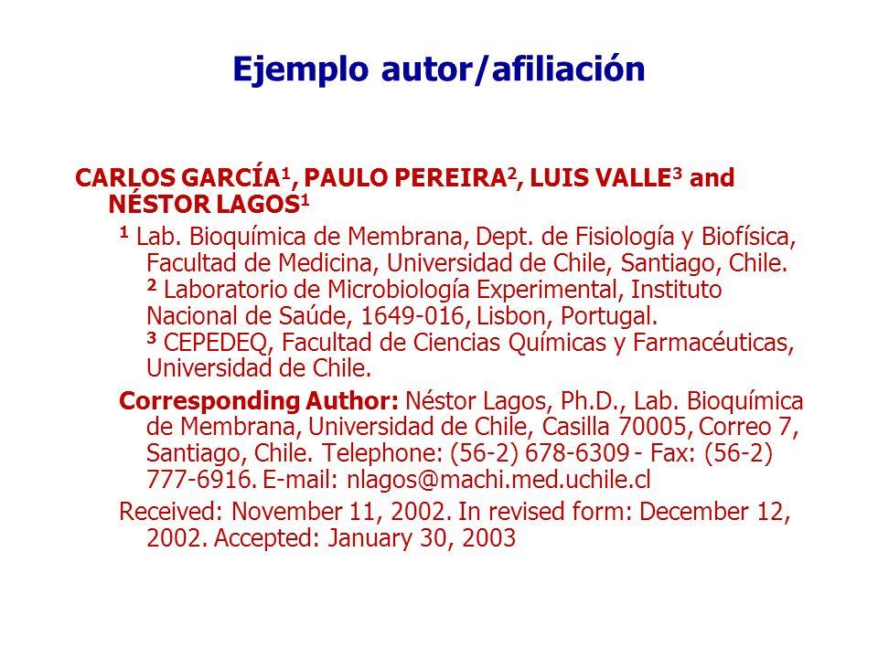 Ejemplo autor/afiliación
