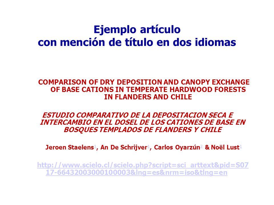 Ejemplo artículo con mención de título en dos idiomas