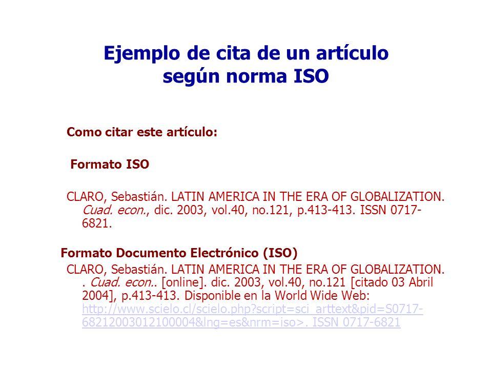 Ejemplo de cita de un artículo según norma ISO
