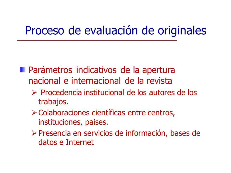 Proceso de evaluación de originales