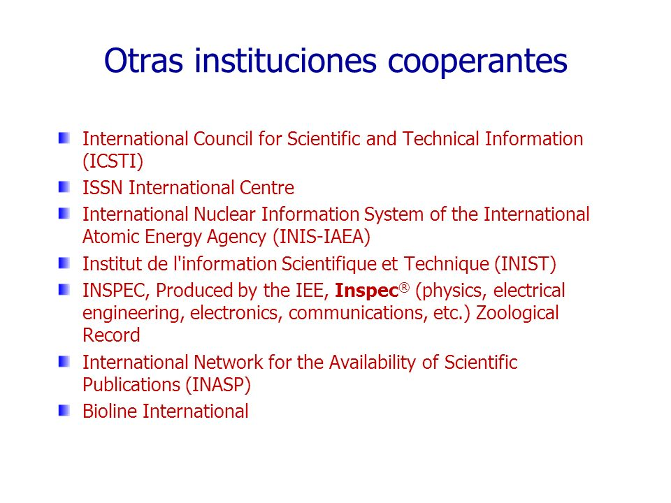 Otras instituciones cooperantes