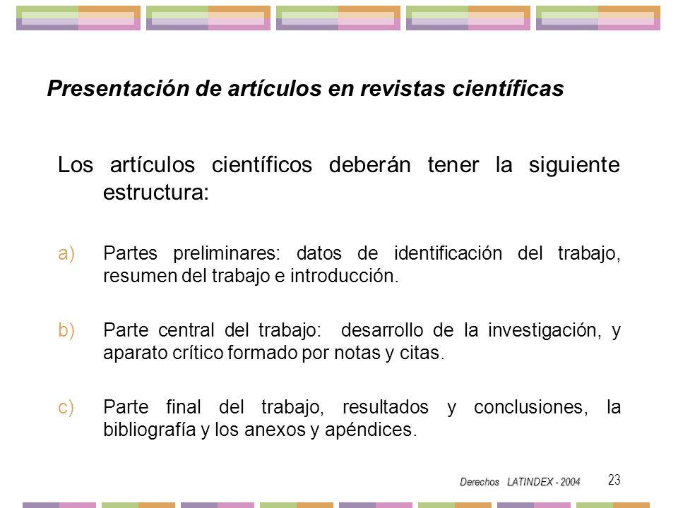 Presentación de artículos en revistas científicas
