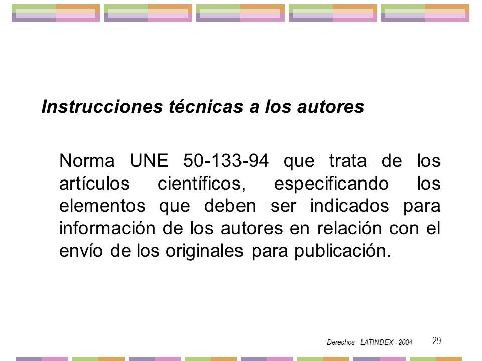 Instrucciones técnicas a los autores