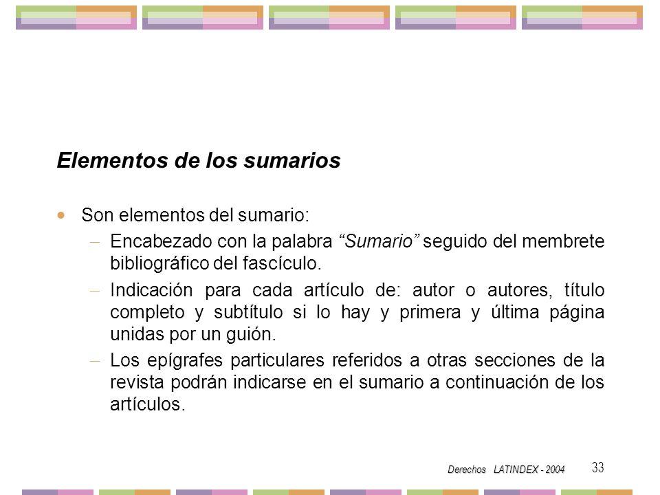 Elementos de los sumarios