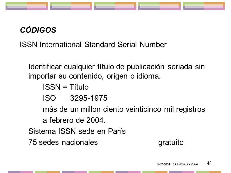 ISSN International Standard Serial Number