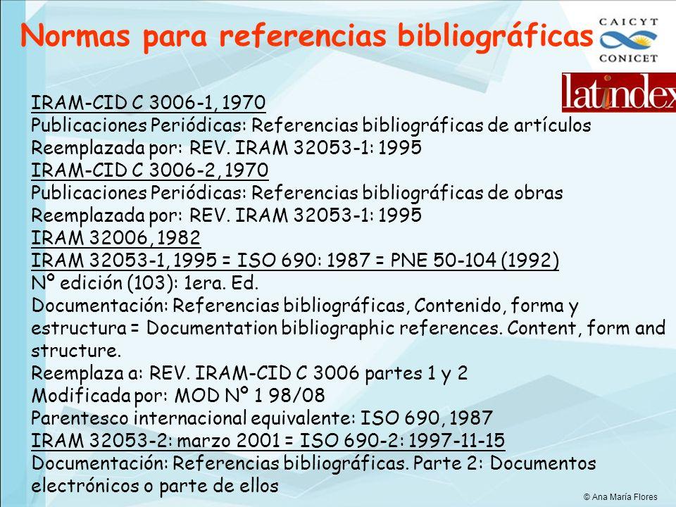 Normas para referencias bibliográficas