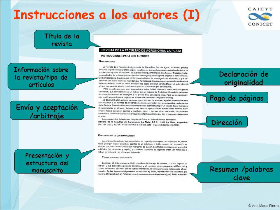 Instrucciones a los autores (I)