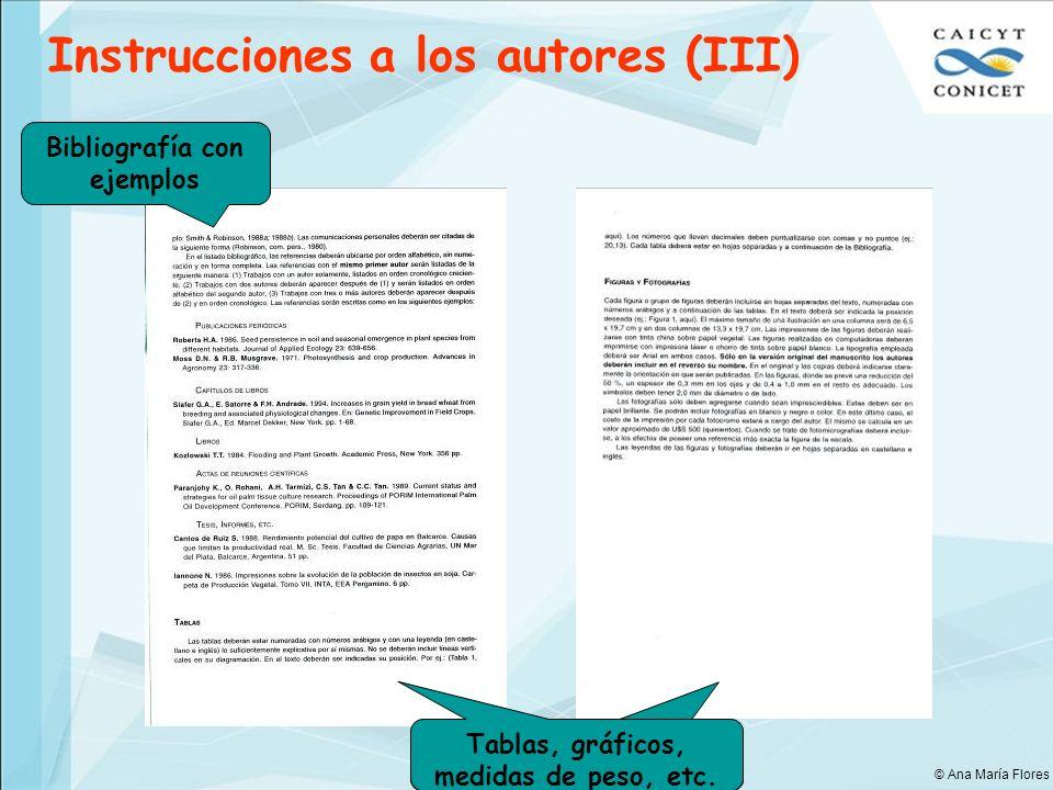 Bibliografía con ejemplos Tablas, gráficos, medidas de peso, etc.