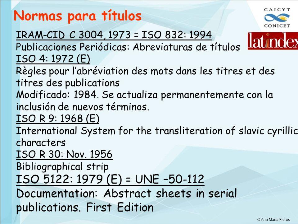 Normas para títulos ISO 5122: 1979 (E) = UNE –50-112