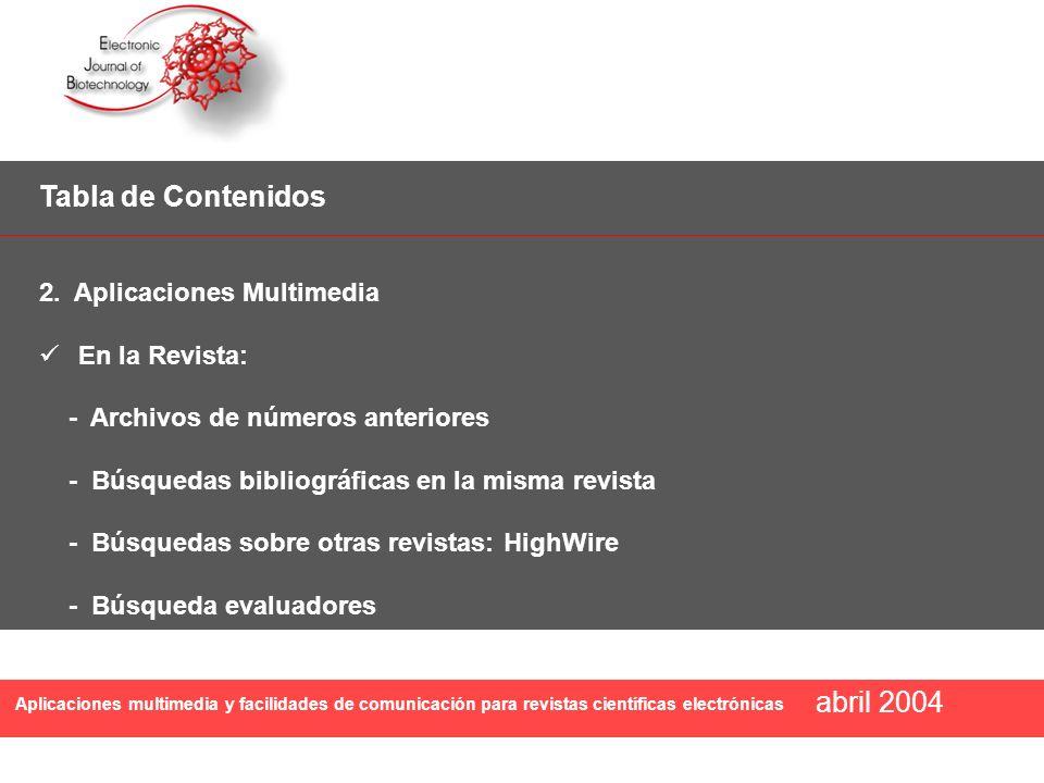Tabla de Contenidos abril 2004 2. Aplicaciones Multimedia