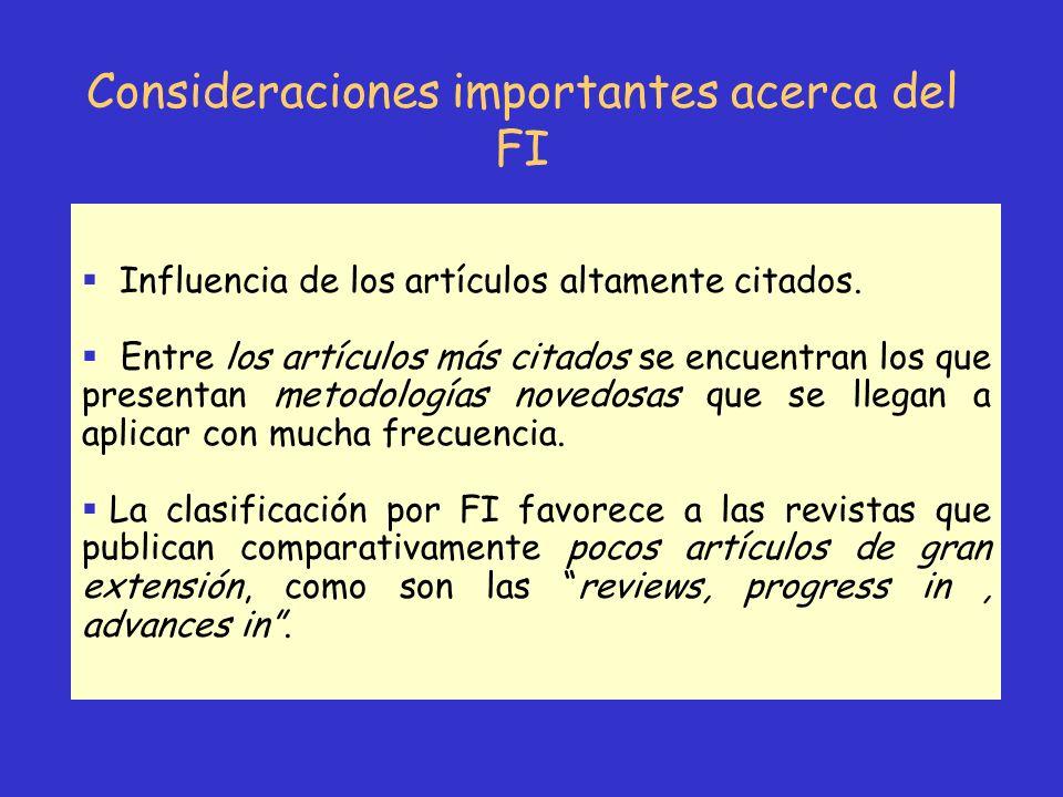 Consideraciones importantes acerca del FI