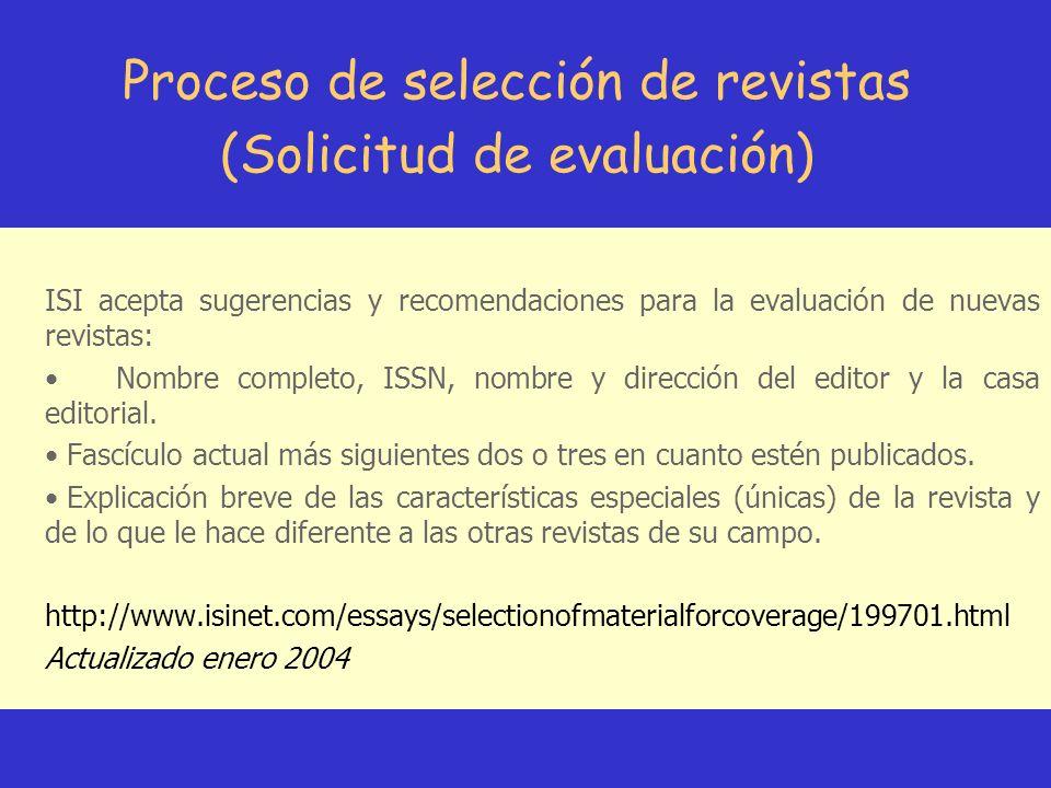 Proceso de selección de revistas (Solicitud de evaluación)