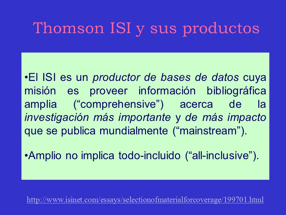 Thomson ISI y sus productos