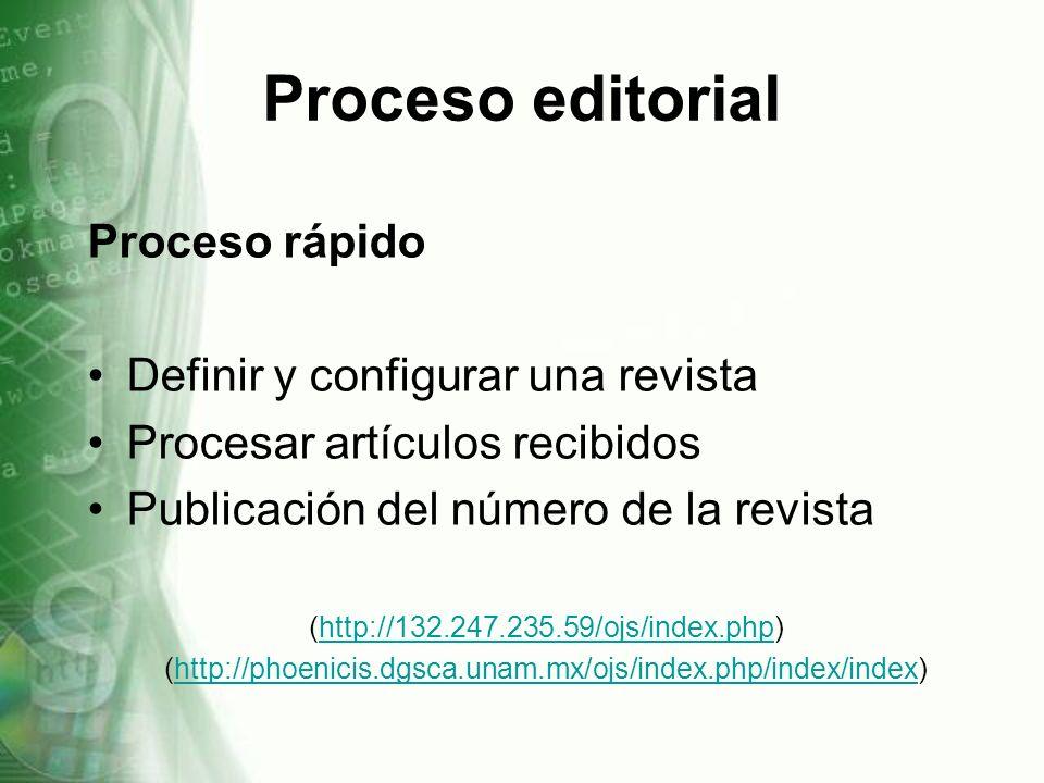 Proceso editorial Proceso rápido Definir y configurar una revista