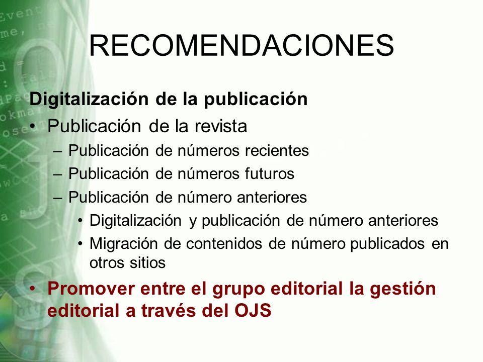 RECOMENDACIONES Digitalización de la publicación
