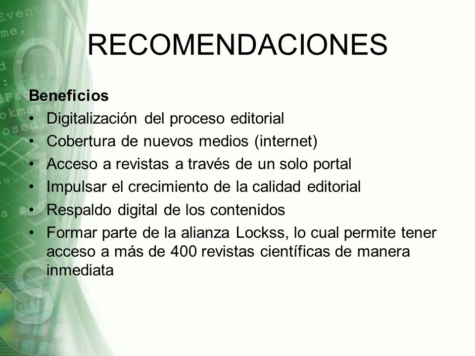 RECOMENDACIONES Beneficios Digitalización del proceso editorial