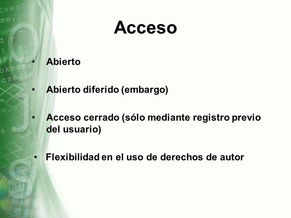 Acceso Abierto Abierto diferido (embargo)