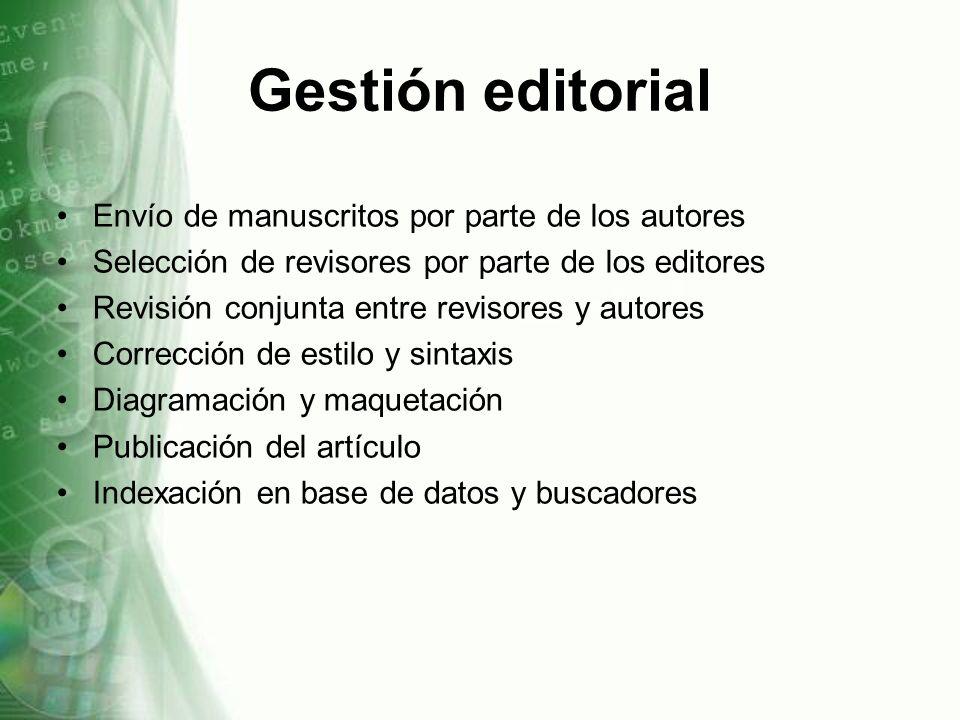 Gestión editorial Envío de manuscritos por parte de los autores