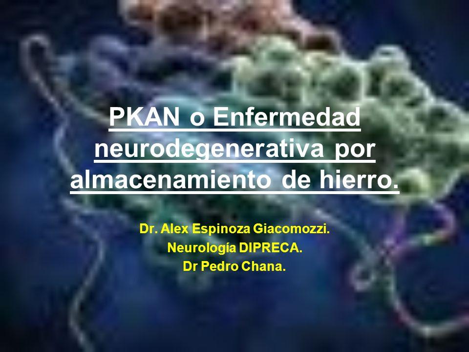 PKAN o Enfermedad neurodegenerativa por almacenamiento de hierro.