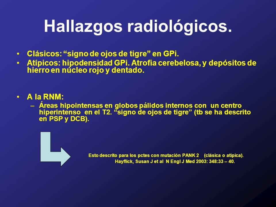 Hallazgos radiológicos.