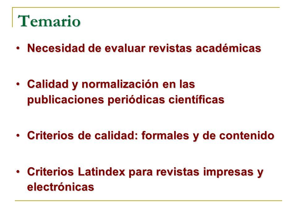 Temario Necesidad de evaluar revistas académicas