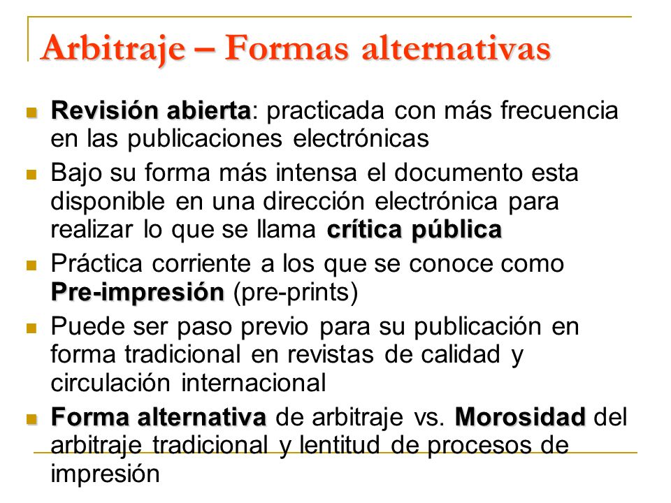 Arbitraje – Formas alternativas