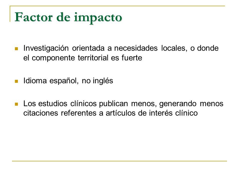 Factor de impacto Investigación orientada a necesidades locales, o donde el componente territorial es fuerte.
