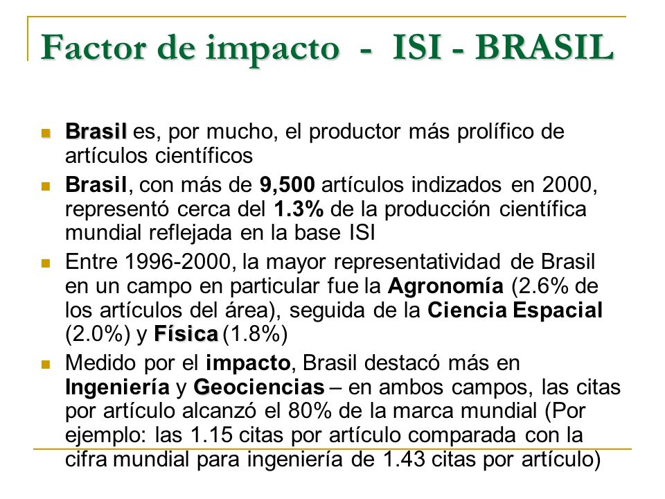 Factor de impacto - ISI - BRASIL